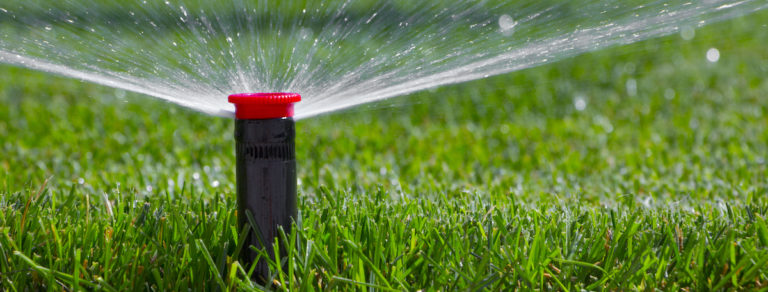 sprinklers on a lawn