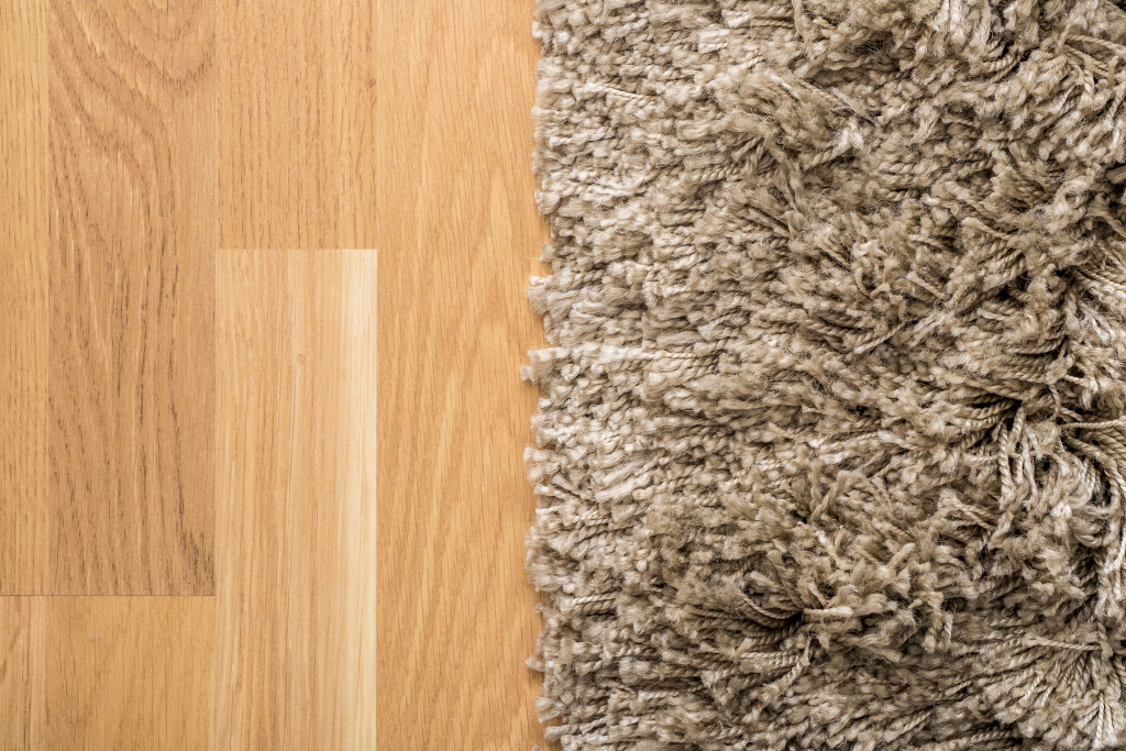 fluffy carpet on a wooden floor